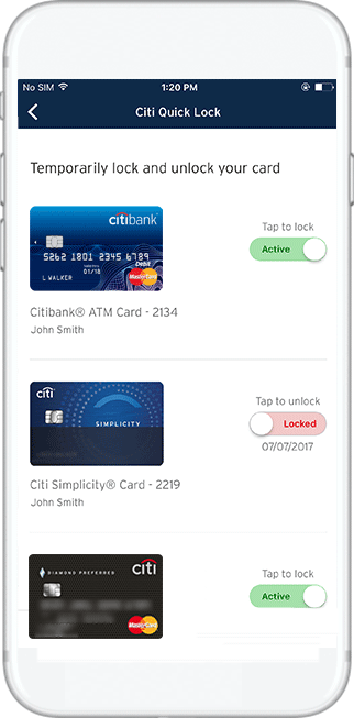 Citi Quick Lock for your credit card on iPhone